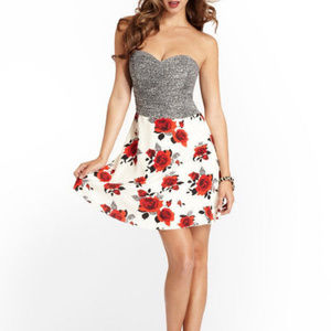 Strapless Floral Rose Cocktail Party Dress GUESS 8